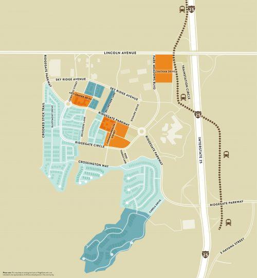 illustrated map of neighborhoods in RidgeGate