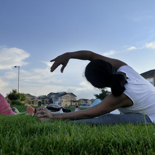 Lone Tree events yoga in the park RidgeGate