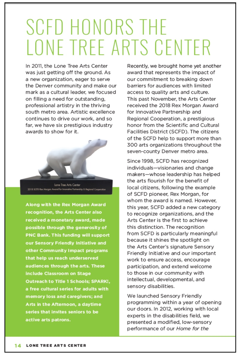 View an article about the award, featured in Lone Tree Arts Center's publication, The View
